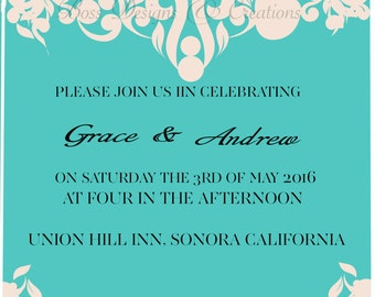 decorative wedding invitation 5x5