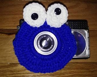 Crochet cookie monster camera buddy