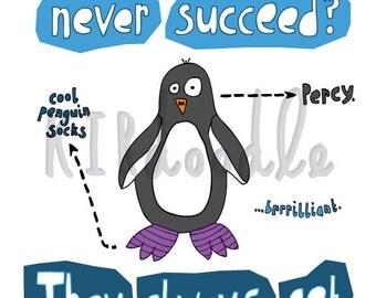 A4 Penguin Cold Feet Joke Print