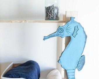 Seahorse Decor, Nautical Wooden Sign Coastal Cottage Wall Decor Beach Chic