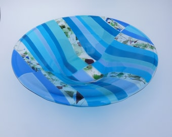 SALE!! Large Blue Fused Glass Bowl.