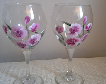 Hand Painted Rose Vine Wine Glass.  Set of 2.