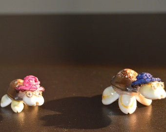 Set of Two Tiny Turtles, made from seashells
