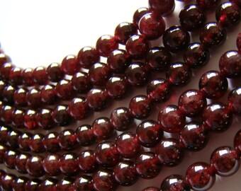 Garnet Gemstone Beads Grade AAA 6mm Rounds 16 Inch Beaded Strand