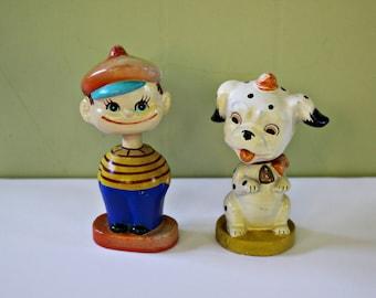 Vintage Boy and Dog Bobbleheads