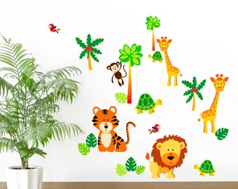 Childrens Jungle Animals - Lion, Tiger, Giraffe, Monkey, Tortoise, Parrot - Printed Art Vinyl Wall Stickers - Designed by Rubybloom Designs