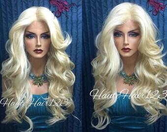 Platinum Blonde Bleach Blonde Full Long Human Hair Blend Lace Front Wig