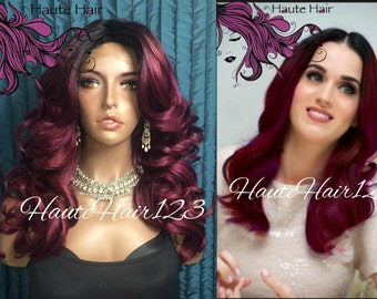 Katy Perry wine Ombre Rooted Human Hair Blend Realistic wig