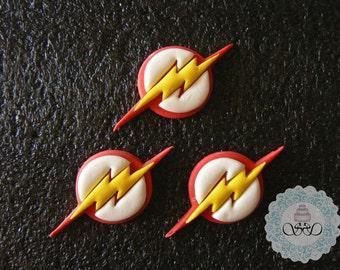 12x edible Fondant Flash symbol cupcake toppers