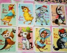 Vintage playing cards - Animal Rummy - Walt Whitman - Set of 8 cards