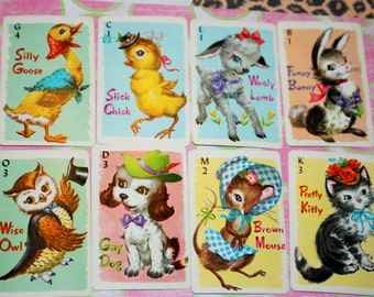 Vintage playing cards - Animal Rummy - Walt Whitman - Set of 8 cards