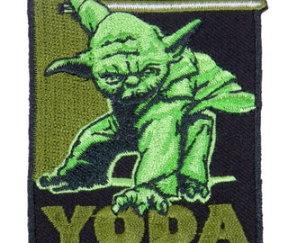 Star Wars Yoda Rectangle Green Black Embroidered Iron On Applique