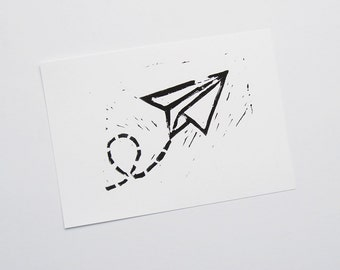 Postcard A6 paper flyer airplane linocut