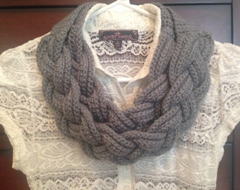 Double layered braided scarf, braided cowl, crocheted