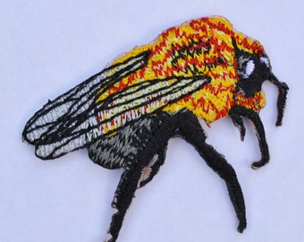 Fly: Embroidered Iron on Patch