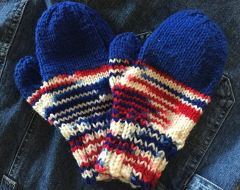 Homemade red, white and blue mittens, crochet