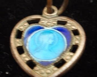 Vintage Miraculous Virgin Mary Enamled Metal