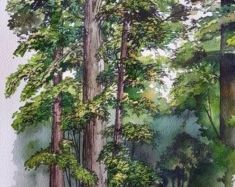 "Original Watercolor Painting ""Fair Oaks Estate"". Watercolor Landscape."