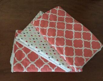 Set of 3 burp cloths ~ coral quatrefoil * multi-color arrows