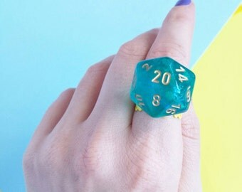 Magical D20 Adjustable Ring - Dungeons and Dragons - Table Top Gamer Girl - YELLOW Filigree Ring/TURQUOISE Die