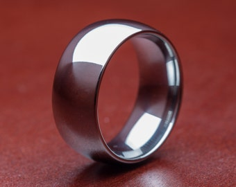 Custom 10mm Silver Dome Tungsten Carbide Band With A Build-Your-Own Design