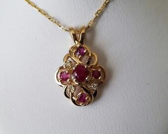 Vintage Ruby and Diamond Pendant 14K Yellow Gold Ruby Pendant July Birthstone