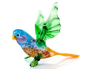 Glass Parrot Figurine Budgerigar Bird Blown Glass Sculpture Collectible Suncatcher Figurine miniature parrot bird figurines