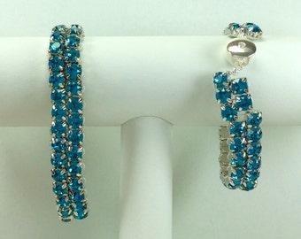 Medium Blue-Green Glitterati Bracelet - Swarovski Crystals, Magnetic Clasp, Silver