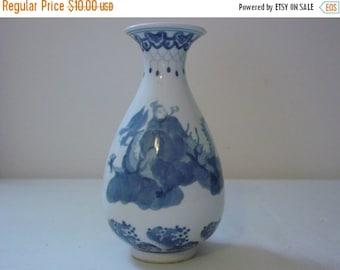 On Sale Vintage Small Asian Vase White Blue Handpainted