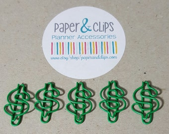5 Dollar Sign Paper Clips or Bookmarks