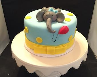 Cute edible elephant cake topper perfect for baby shower gumpaste fondant