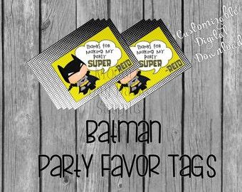 Batman Party Favor Tags - Digital Download