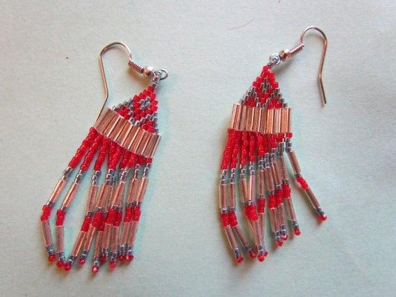 Beaded Indian Style Fringe Earrings by sisterlakesfarm on Etsy