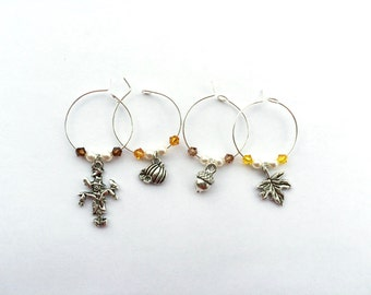Fall Harvest Autumn Wine Charms with Swarovski crystals and pearls