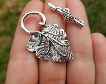 5 Sets Leaf Toggle Clasp, Antique Silver Tone B05428H