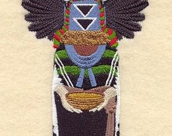 Embroidered Crow Mother Kachina on a Flour Sack Towel
