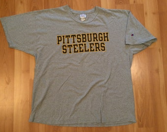 XXL 1996 Pittsburgh Steelers vintage Champion block letter men's T shirt gray black yellow gold 2XL