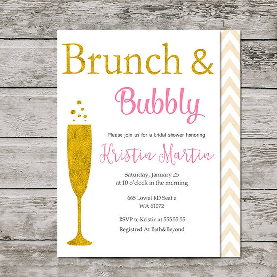 Printable Brunch And Bubbly Bridal Shower By IlyaDesignes