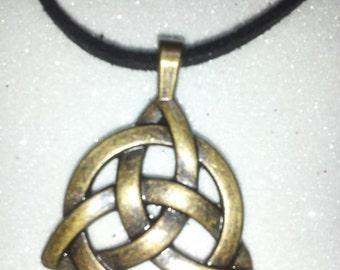 Antique Bronze Triquetra pendant on black suede leather cord