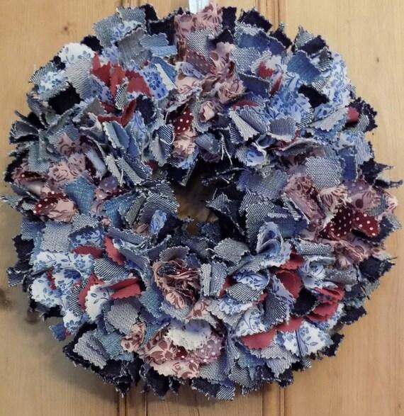 Vintage Style Denim Rag Rug Wreath