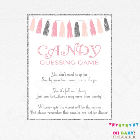 Pink And Silver Baby Shower Games, Candy Guessing Game, Girl Baby Shower,  Guess How Many Candies, Baby Shower Printables, Download, TASPS