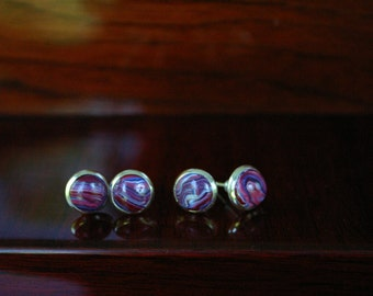 Red White and Blue Marbled Stud Earrings