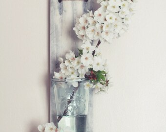 Reclaimed wood, rustic wall flower shelf. Hand made.