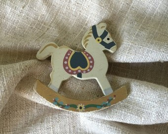 Wooden Rocking Horse Refrigerator Magnet