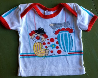 Vintage baby wringer t shirt, French clown with red piping (0-6 months size)