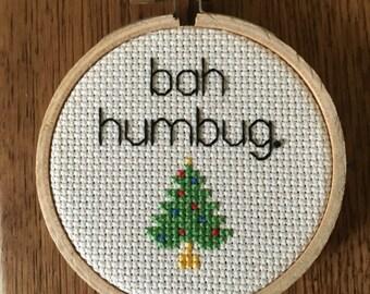 Vulgar Cross Stitch / Bah Humbug / Holiday