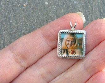 ITTY BITTY -- Sterling Silver Photo Pendant or Necklace with Tiny Square Shaped Fancy Bezel