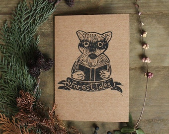 """Art Hand Printed Postcards """"Forest Tales"""" with a Raccoon"""