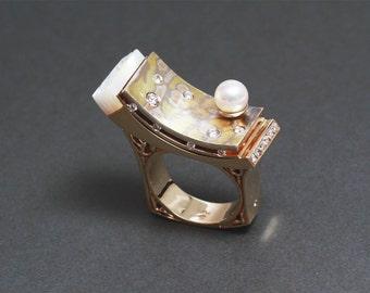 Mokume-Gane Ring / Diamonds / Pearl / Mother of Pearl