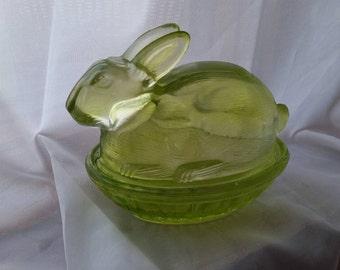 Green glass Rabbit candy dish